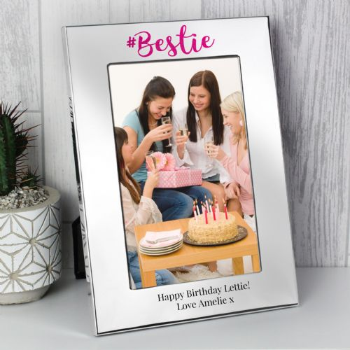 Personalised #Bestie 4x6 Silver Photo Frame Gift For a special friend